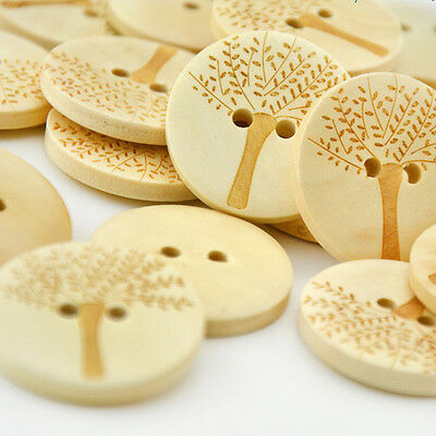 50Pcs Wooden Buttons Natural Color Round Tree 2-holes Sewing Crafts Supplies