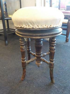 Victorian Revolving Oak Piano Stool Needs Covering