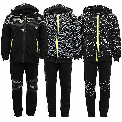 Boys Cycling Tracksuit Kids Hooded Top Jogging Camo Army Tight Pants Bottoms