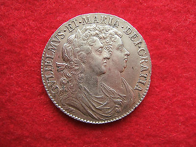 1689 William And Mary Silver Half Crown - First Bust..second Shield.......   M.b
