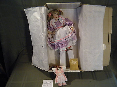 Franklin Heirloom Porcelain doll LITTLE MISS MUFFET W/ Baby in Original Box