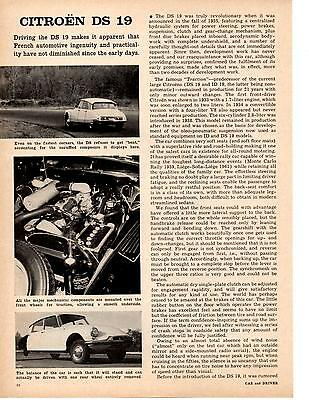 1962 Citroen Ds-19  ~  Nice Original 2-Page Road Test / Article / Ad