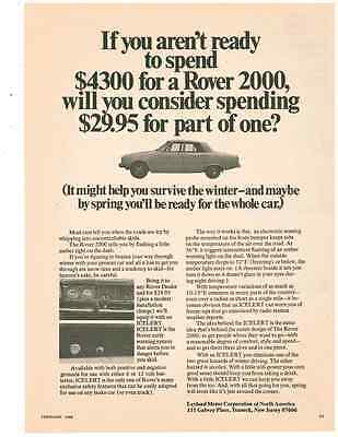1968 Rover 2000 / Eqiupped With Icelert  ~  Nice Original Print Ad