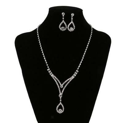 Diamante Bridal Wedding Party Crystal Necklace Earrings Set Jewelry Gift