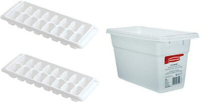 Rubbermaid White 1 Ice Cube Bin & 2 Ice Cube Trays  2862-Rd 2867-Rd New Bpa Free