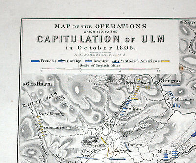 CAPITULATION OF ULM - NAPOLEONIC WARS, Oct.1805 - ALISON'S 1850 Atlas map 36