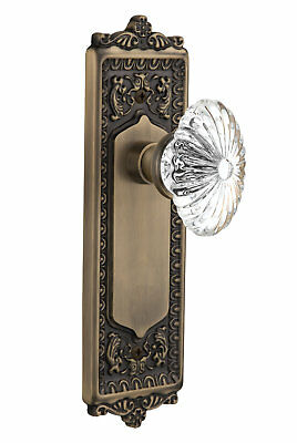 Oval Fluted Crystal Glass Double Dummy Door Knob with Egg and Dart Plate