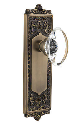 Oval Clear Crystal Glass Privacy Door Knob with Egg and Dart Plate