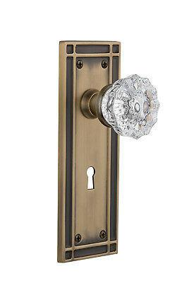 Nostalgic Warehouse Crystal Glass Passage Door Knob with Mission Plate