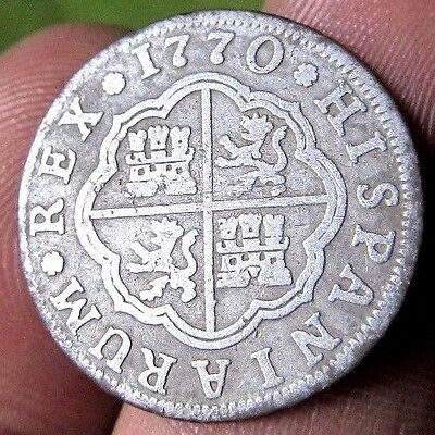 awesome 1770 PIRATE COB SPANISH 1 Real Colonial Silver Coin Carlos CHARLES III