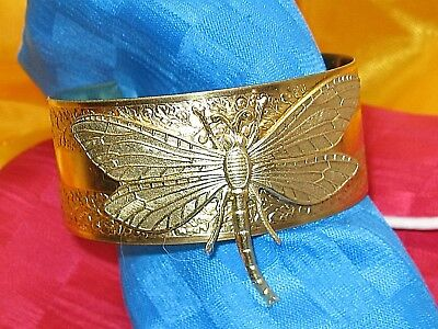 DRAGONFLY BRACELET Gold tone CUFF EGYPTIAN REVIVAL JEWELRY DRAGONFLY CUFF