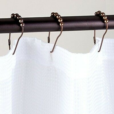 InterDesign Steel Roller Shower Curtain Rings/Hooks Bronze Set of 12 PINCH-CLASP