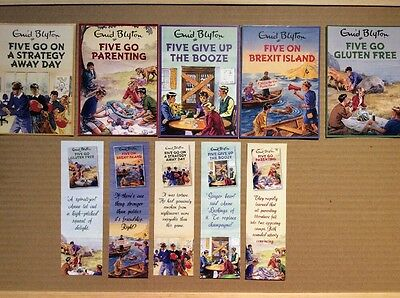 Enid Blyton Promotional postcards and Bookmarks FIVE GO Spoof LADYBIRD