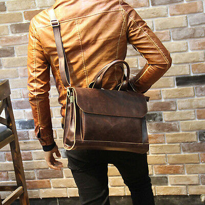 Men's Leather Crossbody Messenger Shoulder Bags Briefcase Work Business Handbag