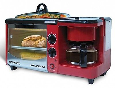 RED 3-in-1 Multifunction Breakfast Hub 4 Slice Toaster Oven Coffee maker NEW