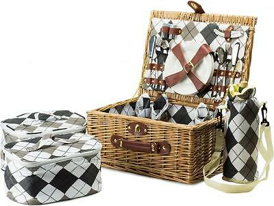 Andrew James Luxury 4 Person Wicker Picnic Hamper Basket + Cooler Bags Outdoors