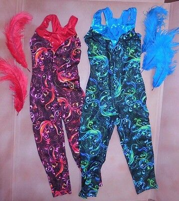 NWT Wolff Fording Print Unitard w/ feathers Foil trim Dance Costume 2 colors c/A