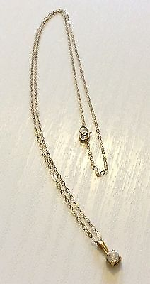 Lovely Ladies Stamped 18ct Gold Diamond Solitaire Pendant On Fine 9ct Chain Nice
