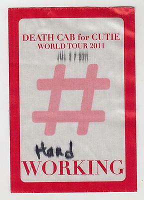 Death Cab For Cutie World Tour 2011 Crew Working Backstage Pass