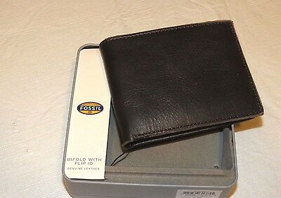 Fossil Men's Anderson Bifold Wallet with Flip ID Window COW HIDE LEATHER NWT