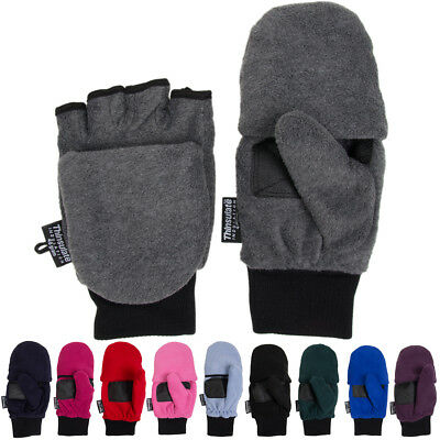 3M Thinsulate Fleece Pop Top Convertible Fingerless Gloves Mittens Women Kids