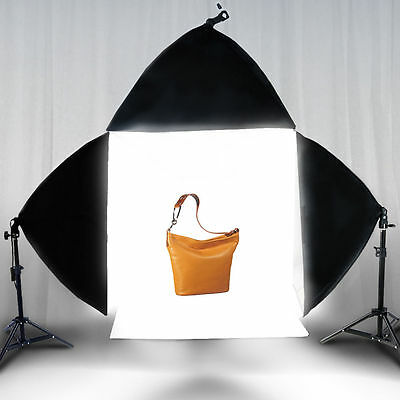 "Photo Studio 20"" Photography Light Tent Backdrop 3x Softboxes Kit Cube Lighting"