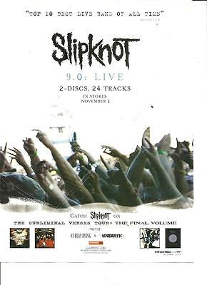 Slipknot, 9.0 Live, Full Page Promotional Ad