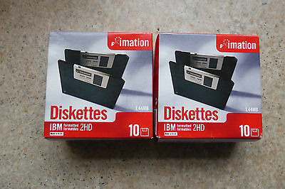 "20x Imation Floppy discs 3,5"" Floppy Disk HD-MF2 1,44 MB DOS formatted Diskettes"