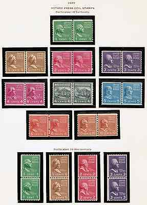 US #839~#851 1939 Prexie Coils MNH,OG Set of 13 Line Pairs Stamps