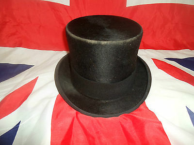 "Vintage Christys' Brushed Silk Black Top Hat  21.25"" Appx Size 6 3/4 Small   #3"