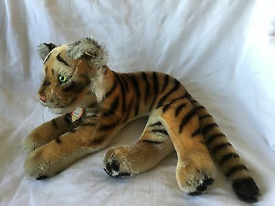 Lovely old large  Steiff 60s vintage lying Tiger. All IDs.