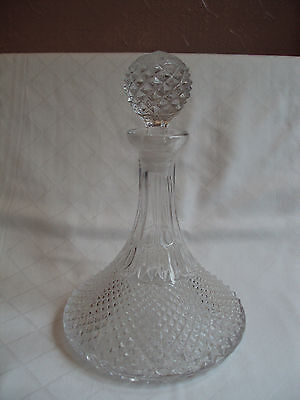 Vintage Heavy Cut Crystal Hobnail Ships Rum Whisky Spirit Glass Decanter