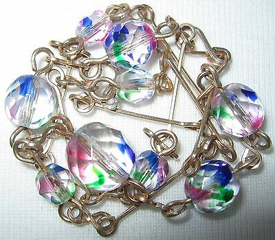 Antique Vintage Art Deco Iris Rainbow Crystal Glass Beads Rg Links Necklace