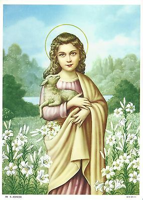 """Catholic Print Picture ST. AGNES Martyr 7 1/2 x 10"""" ready to frame"""