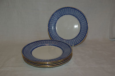 "Set of 5 x 7.25"" Plates Antique  George Jones Ironstone Cassino Flow Blue White"