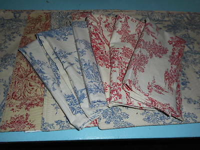 Toile On Both Sides! Placemats And Napkins! Red And Blue!!!