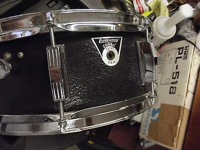 "Rare Black Textured Ludwig Vistalite 14"" x 5"" Snare Drum COMBO badge Super Clean"