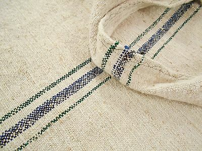 Vtg Antique INDIGO BLUE & GREEN STRIPED HEMP LINEN Fabric FEED SACK GRAIN BAG