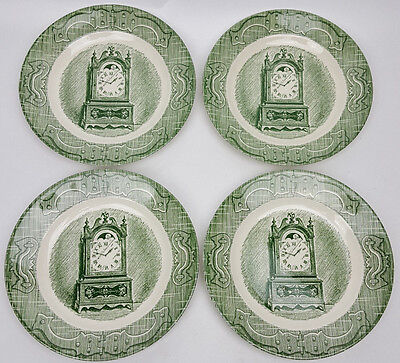 4 Old Curiosity Shop Royal China green bread plates vintage 1950s clock design