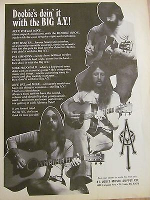 The Doobie Brothers, A.Y. Guitars, Full Page Vintage Promotional Ad