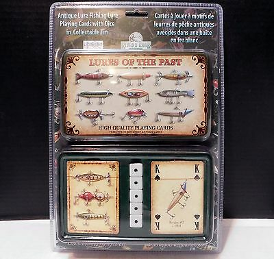 2 Decks Antique Fishing Lures PLAYING CARDS Dice in Collectible Tin GIFT SET