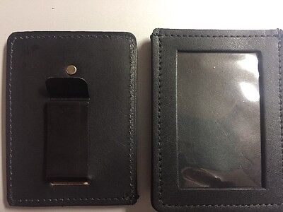 New Black Leather Law Enforcement ID Holder  With Secure Clip