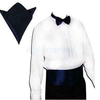 Deep Blue Pre-tied Bow tie and Pocket Square Hanky Set Formal Party