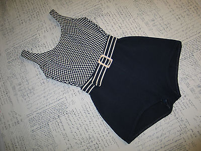 Vintage Womens Robby Len Swimfashions Swimsuit with Built-in Bra-Navy/White