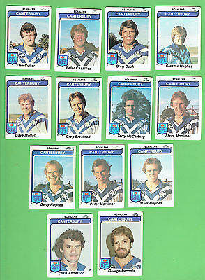 1980  Canterbury Bulldogs  Scanlens Rugby League Cards