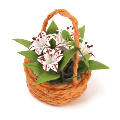 Clay Vivid Lily Flower Plants In Basket for 1:12 Dollhouse Home Table Decor