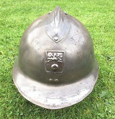"Ww2 French Adrian Steel Helmet With Insignia ""defense Passive"" Original Scarce"