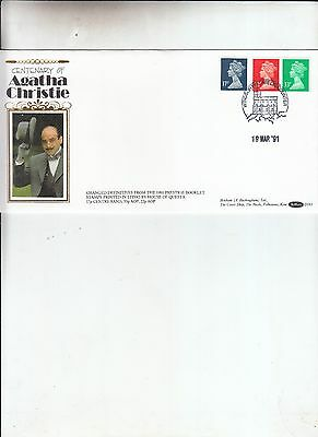 1991 AGATHA CHRISTIE BENHAM Prestige Booklet Pane First Day Cover D161