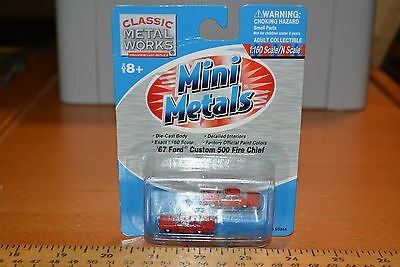 N Scale Mini Metals 67 Red Ford Custom 500 Fire Chief Cars In Ob