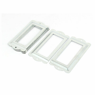 File Drawer Box Card Tag Label Holders Frames Silver Tone 85mm x 42mm 8PCS
